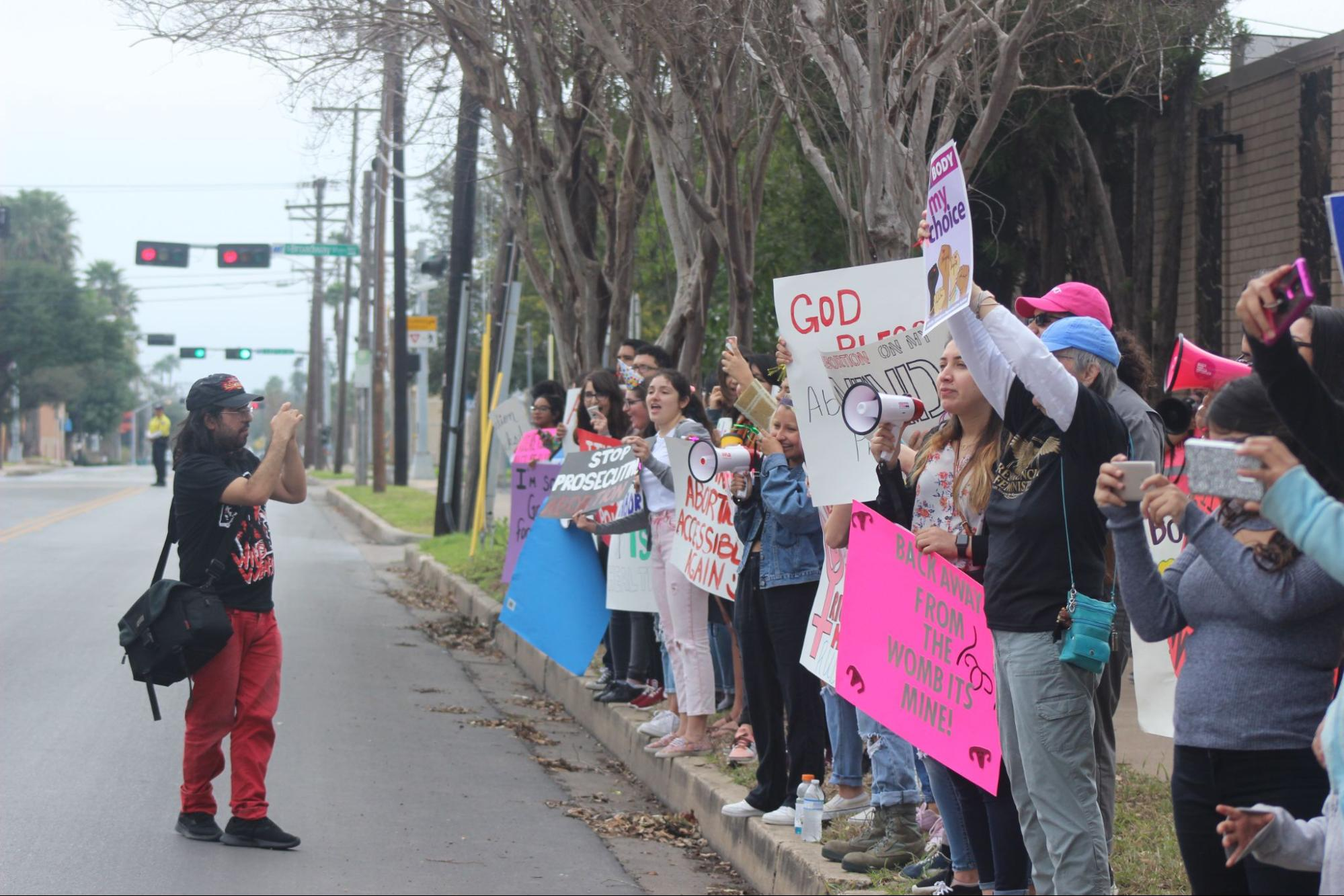 Shown are reproductive justice protestors and abortion proponents on Febrary 2, 2019, showing support for Whole Woman's Health Clinic on the anniversary of when they legally defeated the state of Texas which attempted to have the clinic shut down. 📷 Freddy Jimenez.